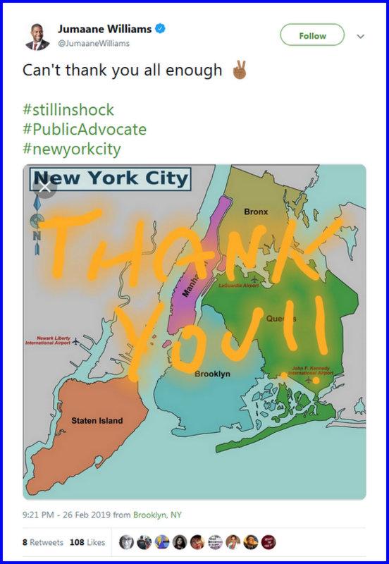 Jumaane Williams on Twitter Can't thank you all enough ✌🏾 #stillinshock #PublicAdvocate #newyorkcity… - Mozilla Firefox 2272019 123541 AM